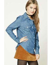 Forever 21 - Blue Women's Chambray Button-front Shirt - Lyst