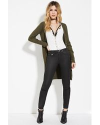 Forever 21 - Green Longline Ribbed Knit Cardigan - Lyst