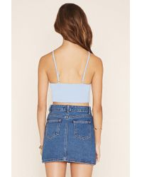 Forever 21 - Blue Crisscross Cropped Cami - Lyst