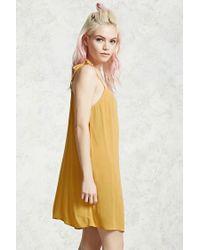 Forever 21 - Yellow Gauze Tie-strap Mini Dress - Lyst