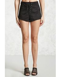Forever 21 - Black Faux Suede Lace-up Shorts - Lyst