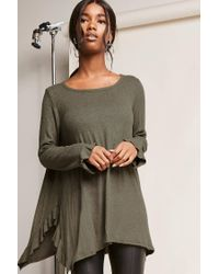 Forever 21 - Green Ruffled Trapeze Top - Lyst