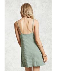 Forever 21 - Green Lace-up Front Mini Dress - Lyst