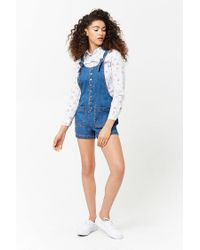 Forever 21 - Blue Denim Button-front Dungarees Shorts - Lyst