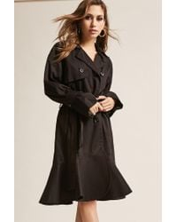 Forever 21 - Black Double-breasted Trench Coat - Lyst