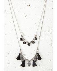 Forever 21 - Metallic Tasseled Arrow Charm Necklace - Lyst