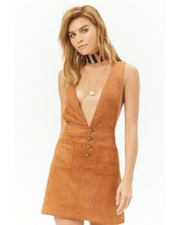 Forever 21 - Multicolor Faux Suede Pinafore Dress - Lyst