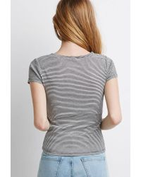Forever 21 - Black Striped Cap-sleeve Tee - Lyst