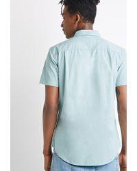 Forever 21 - Green Button-collar Shirt for Men - Lyst
