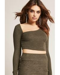 Forever 21 - Green Women's Marled Asymmetrical Crop Top - Lyst