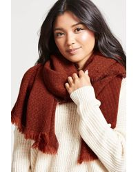 Forever 21 - Red Frayed Oblong Scarf - Lyst