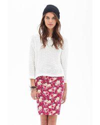 Forever 21 - Pink Clustered Rose Pencil Skirt - Lyst