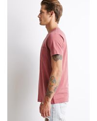 Forever 21 - Pink Micro-stripe Pocket Tee for Men - Lyst