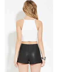 Forever 21 - White Crochet Cropped Cami - Lyst