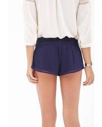 Forever 21 - Blue Smocked Chiffon Shorts - Lyst
