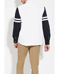 Forever 21 - Blue Striped-sleeve Cotton Shirt for Men - Lyst