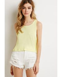 Forever 21 - Yellow Boxy Vented Tank - Lyst