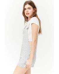Forever 21 - Blue Striped Seersucker Overalls - Lyst