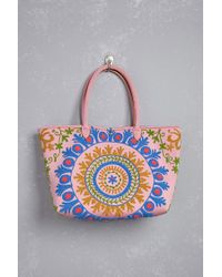 FOREVER21 - Pink Raj Large Embroidered Tote - Lyst