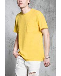 Forever 21 - Yellow Slub Knit Pocket Tee for Men - Lyst
