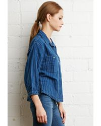 Forever 21 - Blue Striped Denim Boxy Shirt - Lyst