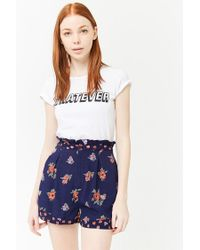 Forever 21 - Blue High-rise Floral Print Shorts - Lyst