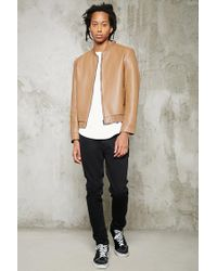 Forever 21 - Brown Faux Leather Bomber Jacket for Men - Lyst