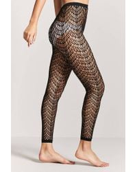 Forever 21 - Black Footless Geo Cutout Tights - Lyst