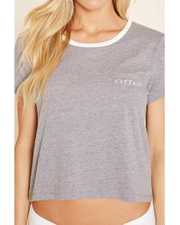 Forever 21 - Gray Coffee Heathered Pyjama Tee - Lyst