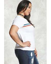 Forever 21 - White Plus Size Rainbow Striped Tee - Lyst