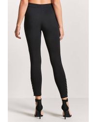 Forever 21 - Black Lace-up Leggings - Lyst