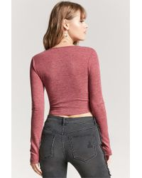 Forever 21 - Self-tie Heathered Top - Lyst