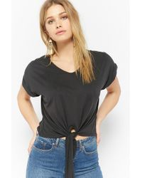 FOREVER21 - Black Boxy Tie-front Top - Lyst