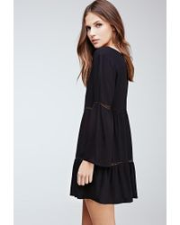 Forever 21 - Black Crochet-paneled Bell Sleeve Peasant Dress - Lyst