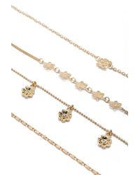 Forever 21 - Metallic Floral Charm Bracelet Set - Lyst