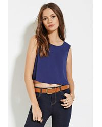 Forever 21 - Blue Button-back Crop Top - Lyst