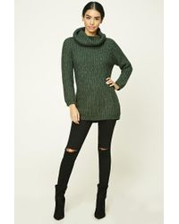 Forever 21 - Green Marled Knit Cowl-neck Jumper - Lyst