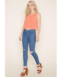 Forever 21 - Orange Tiered Ruffle Top - Lyst