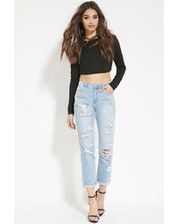 Forever 21 - Black Split-back Crop Top - Lyst