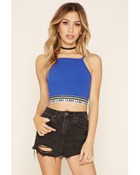 Forever 21 - Blue La Bae Graphic Crop Top - Lyst