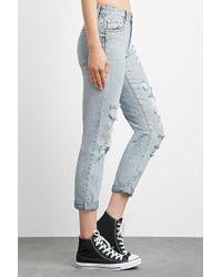 Forever 21 - Blue Distressed Boyfriend Jeans - Lyst