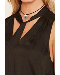 Forever 21 - Black Satin Tie-neck Blouse - Lyst