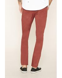 Forever 21 - Natural Cotton-blend Slim Fit Trousers for Men - Lyst