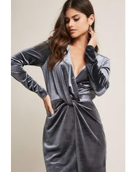 Forever 21 - Multicolor Velvet Twist-front Dress - Lyst