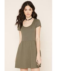 Forever 21 - Green Two-pocket Fit And Flare Dress - Lyst