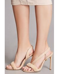Forever 21 - Natural Oli J Open Toe Faux Fur Heels - Lyst