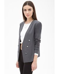 Forever 21 - Gray Collarless Open-front Blazer - Lyst