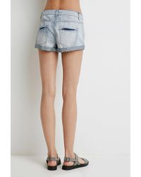 Forever 21   Blue Mid-rise Cuffed Denim Shorts   Lyst