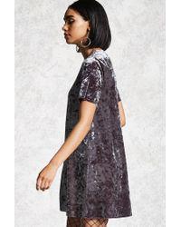 Forever 21 Gray Crushed Velvet T-shirt Dress