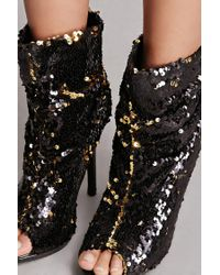 Forever 21 Black Sequined Slouchy Boots